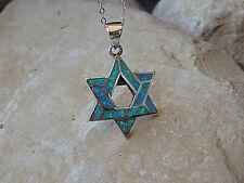 GENUINE STAR OF DAVID OPAL PENDANT sterling silver Pesach Judaica Jewellery