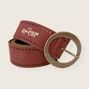 Levi's Rust Red Leather Belt Men's Large Perforated Round Buckle Spellout