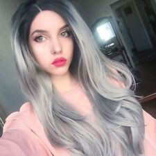 Ombre Gray Long Wavy Synthetic Wig Straight Hair Lace Front Wigs for Halloween