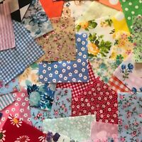 FABRIC SQUARE SCRAPS.30 PIECE OFFCUTS.BUNDLE OF MIXED  POLYCOTTON MATERIAL