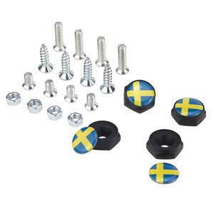 Sweden Swedish Flag Emblem Car License Plate Frame Screws Bolts Caps Covers Nuts