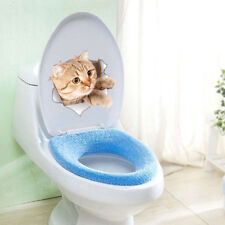 Cute Cats 3D Wall Sticker Toilet Stickers Hole View Vivid Dogs Bathroom Home