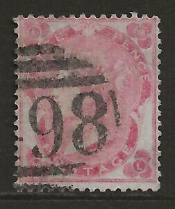 GB 1862 3d deep carmine-rose VF used 498 Manchester cancel/postmark SG#75 cv£575