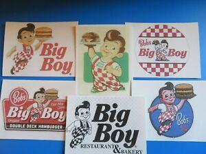 Bob's Big Boy, Original Double Deck Hamburgers Lot of 6 stickers 1950-1988+BONUS