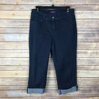 NYDJ Womens Crop Stretch Jeans Mid Rise Slim Leg Dark Wash Ankle Cuff Size 4