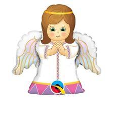 """2 x 14"""" Riempimento Aria ANGEL GIRL forma Foil Balloon Qualatex con licenza COMUNIONE FESTA"""