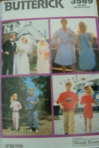 "Butterick Pattern 3569 Wendy Everett Barbie Ken 11 1/2"" Doll Clothes UNCUT 1989"