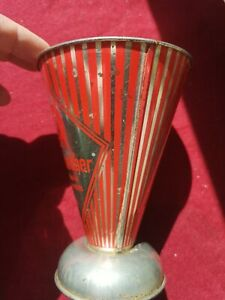 Alter Messbecher Luchs Metall Litermaß mit Skala Retro Vintage, 15 cm hoch,10cm