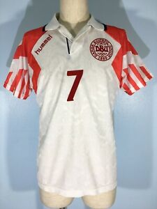 VINTAGE 1992 HUMMEL DENMARK JOHN JENSEN AWAY FOOTBALL SHIRT SOCCER JERSEY M