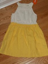 Gymboree BUTTERFLY FIELDS Yellow White Neon Eyelet Lined Summer Dress NWT 6 7