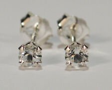 BEENJEWELED GENUINE NATURAL MINED WHITE TOPAZ EARRINGS~STERLING SILVER~3MM
