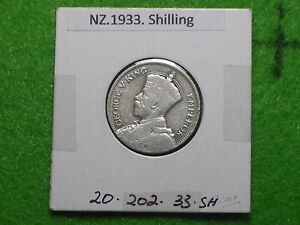 NEW ZEALAND - 1933 ONE SHILLING - PREDECIMAL COIN. Silver 50%