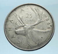 1966 CANADA United Kingdom Queen Elizabeth II CARIBOU Silver 25 Cent Coin i77529
