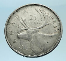 North & Central America Coins 57h 25 Cents Queen Elizabeth Ii 1966 Bahamas