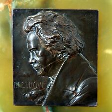 Antique Bronze Relief Plaque Bust Ludwig Von Beethoven Signed Franz  F. Stiasny