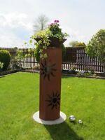8Eck Säule Sonne Edelrost Rost Deko Garten Deko Metall Stele Säule Rost Dekoline