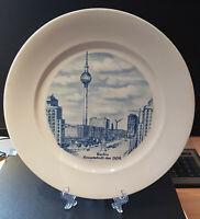 Porzellan Andenkenteller: Berlin, Hauptstadt der DDR Echt Weimar Kobalt blau