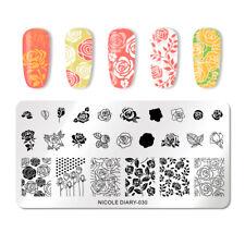 Nicole diario para Uñas Stamping Placa Rectángulo Arte en Uñas Imagen plantilla de impresión