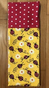 Homemade Flannel Ladybugs & Daisies Pillowcase - handmade, std size