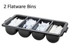 (2 Pack) Black Plastic 4 Compartment Silverware Cutlery Holder Organizer Bins