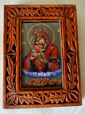 ORTHODOX ICON, ST Mary Mother of God REAL WOOD HAND MADE Wood carving 14,5 x 20