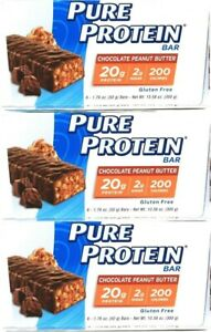 (3 Boxes) Pure Protein Chocolate Peanut Butter 6 Count Bars 10.58 Oz  BB 9-16-21