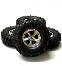 HS211204C 1/10 RC off Road neumáticos de Rock Crawler Ruedas X 4 100 mm 5 habló Cromo