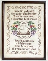 "Give Me Time 14"" Vtg Cross Stitch Sampler Framed Needlepoint Clock Fruit Vines"