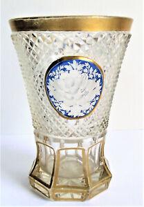 Antique BOHEMIAN BIEDERMEIER BLUE GOLD CUT ENGRAVED ART GLASS BEAKER TUMBLER