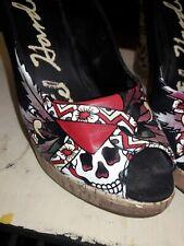 Womens Ed Hardy cork Wedges Size 10 Open Toe- skulls