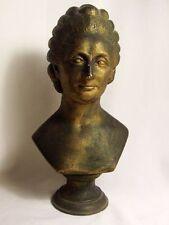 BUSTE PLATRE XVIIIème Mme PENNETREAU des AUGIERS née FOUCAULT SOUCHARD peint OR
