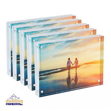 Acrylic Picture Frame   Magnetic Photo Holder   Set of 5-5x7 Inch