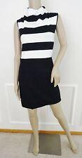 Nwt French Connection Polca Plains Stripe Jersey Popover Dress Sz 6 Black White