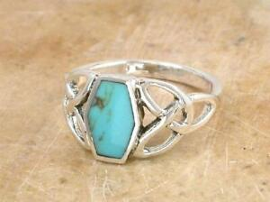 STERLING SILVER TURQUOISE CELTIC TRINITY KNOT RING size 9  style# r0782