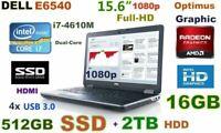"""# 3D-Design DELL E6540 i7-3.0GHz (512GB SSD + 2TB) DVDRW 16GB 15.6"""" FHD"""
