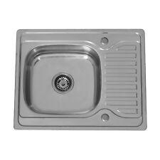 ENKI Compact 1.0 Single Bowl Reversible Square Inset Kitchen Sink Drainboard