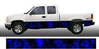 Blue flame fire Rocker Panel Graphic Decal Wrap Kit Truck SUV