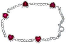 5 Ct Ruby Heart Bezel Bracelet .925 Sterling Silver