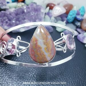 ONE OF A KING AGATE & PINK KUNZITE ARTISAN BANGLE GERMAN SILVER ELECTROPLATED
