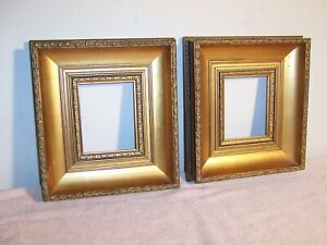 Pair Small Vintage Gold Carved Wood Picture Frames Portrait Miniature