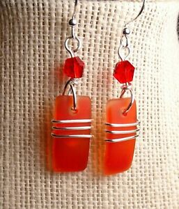 RED w orange handcrafted sea glass drop earrings custom silver wrap design