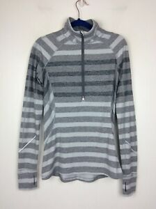 Lululemon 1/4 Zip Long Sleeve Mock Neck Top Gray Stripe 6