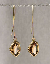 Yellow Gold 24k Plated Drop Galactic Swarovski Crystal Long Dangle Earrings