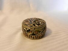 "2.75"" Small Round Decorative Metal Trinket Box, Intricate Filigree Design"