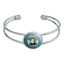 Fun Silver Plated Metal Cuff Bracelet Beer It's a Liver Full of