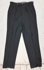 Vtg 40s/50s Black High Waist Button Fly Wool Trousers  W30 L29 EY21