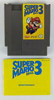 NES - Super Mario Bros. 3 - Cartridge and Manual - Pins Cleaned and Game Tested