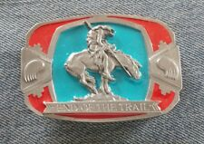 END OF THE TRAIL NATIVE AMERICAN THEME BELT BUCKLE C&J INC MADE IN USA 1990