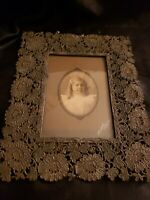 """Antique tin/metal ornate picture frame 8 1/2 x 7"""""""