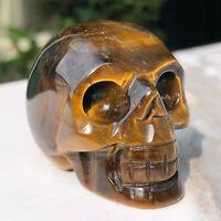 1PCS-Natural Tiger Eye Stone  Quartz Crystal Sculpture Skull Hand Reiki Healing